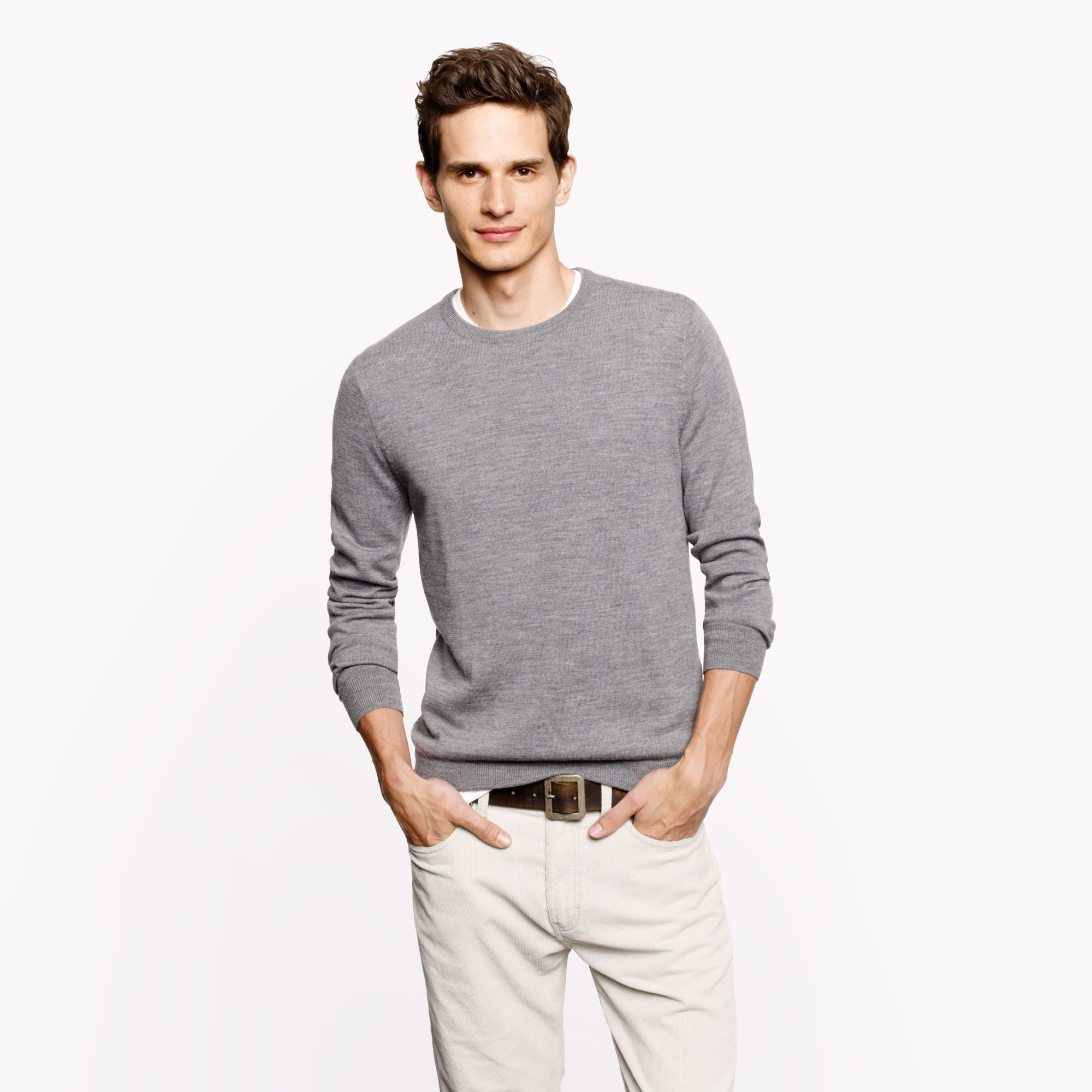 Merino crewneck sweater in gray for men lyst for Flannel shirt under sweater