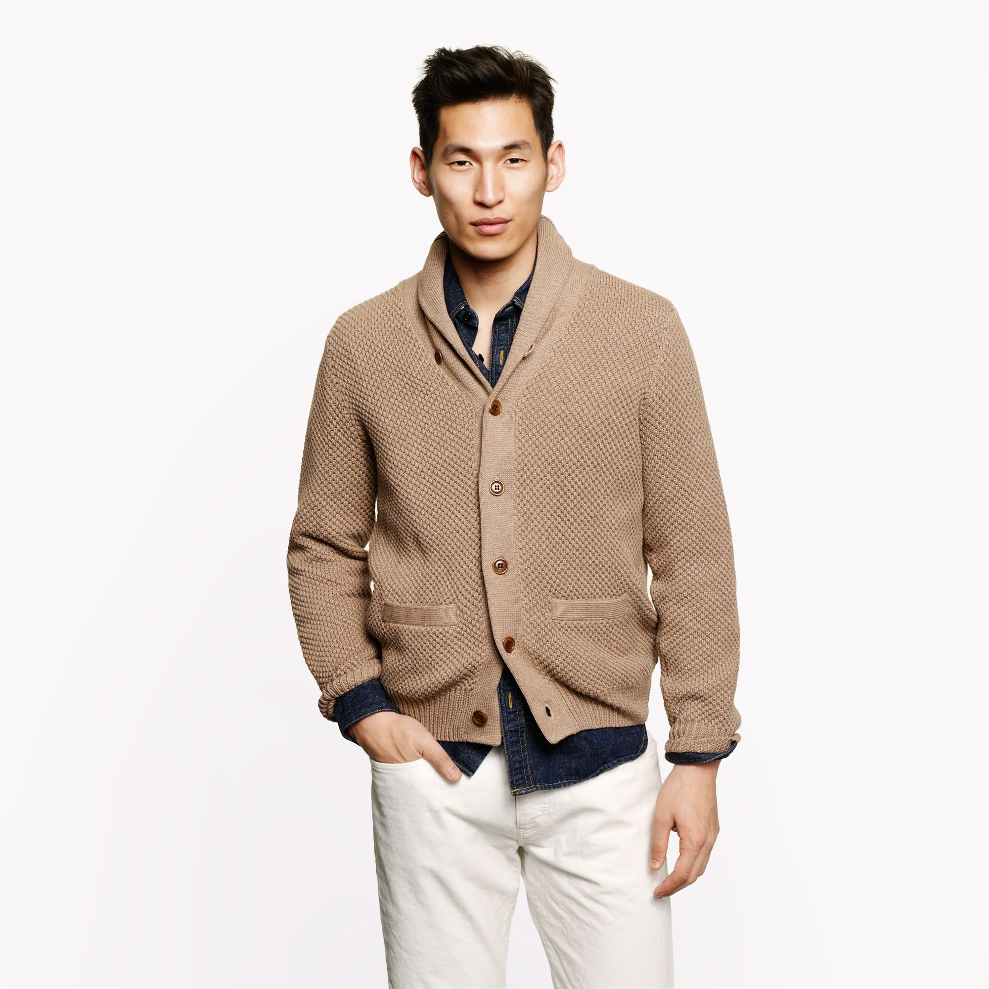 J.crew Cotton Shawl-collar Cardigan in Brown for Men | Lyst