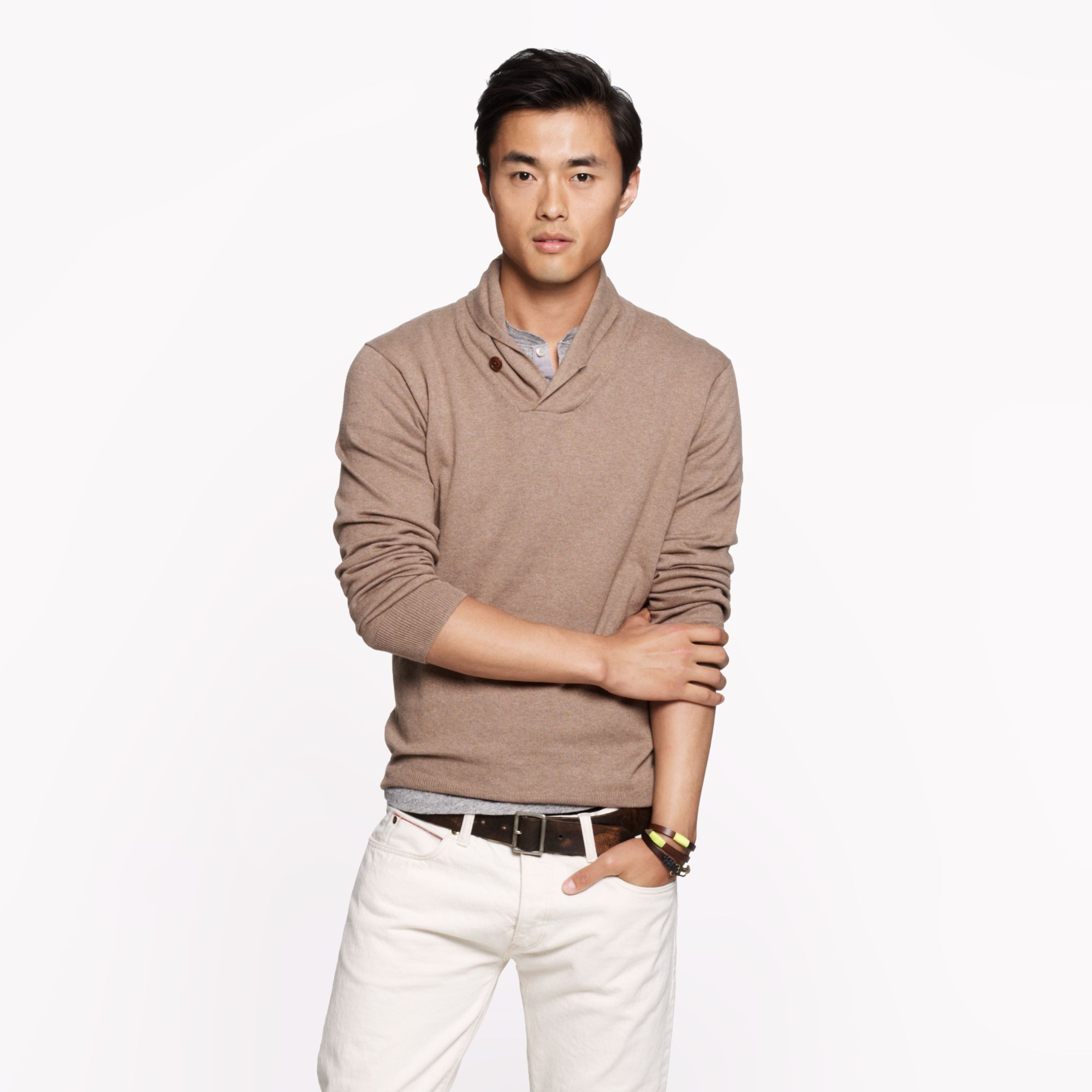 J.crew Cotton-cashmere Shawlcollar Sweater in Brown for Men | Lyst