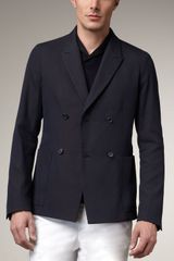 Jil Sander Navy Textured Double-breasted Blazer - Lyst