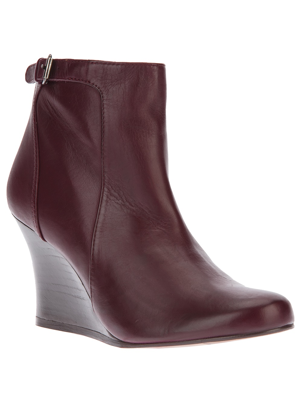 lanvin wedge booties in brown burgundy lyst