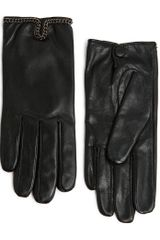 Mango Chain Leather Gloves - Lyst