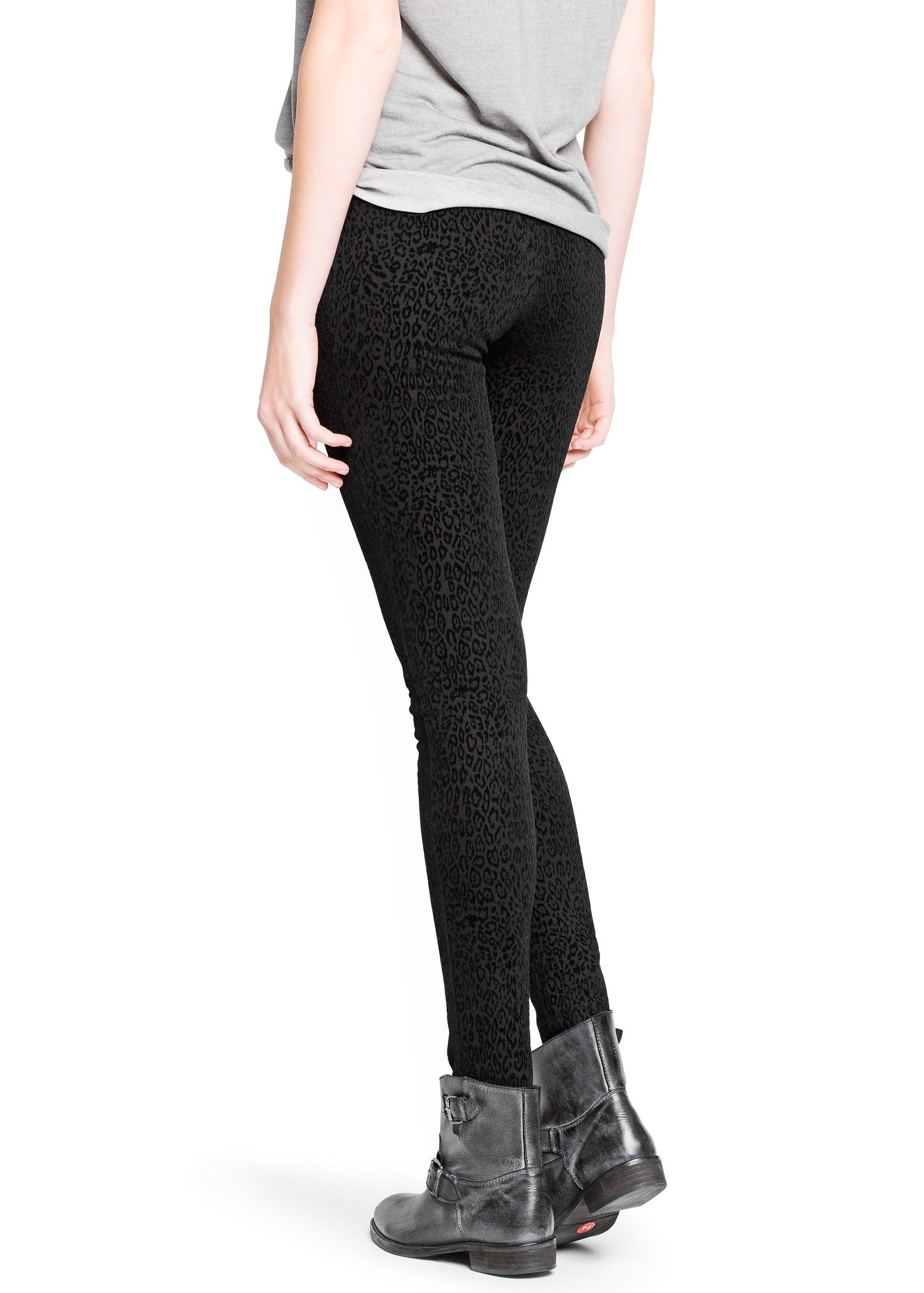 Mango Velvet Leopard Print Leggings in Black | Lyst