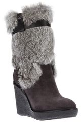 Moncler Wedge Fur Boot - Lyst