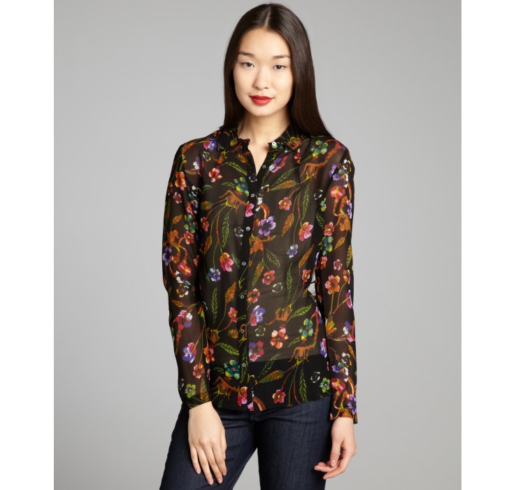 Nicole miller Black and Orange Floral Printed Chiffon Blouse in ...