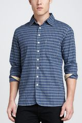 Rag & Bone Plaid Shirt with 3/4 placket Blue - Lyst