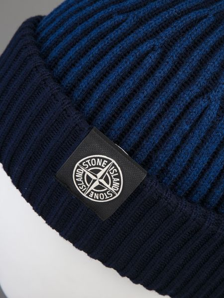 Stone Island Ribbed Knit Beanie in Blue for Men - Lyst