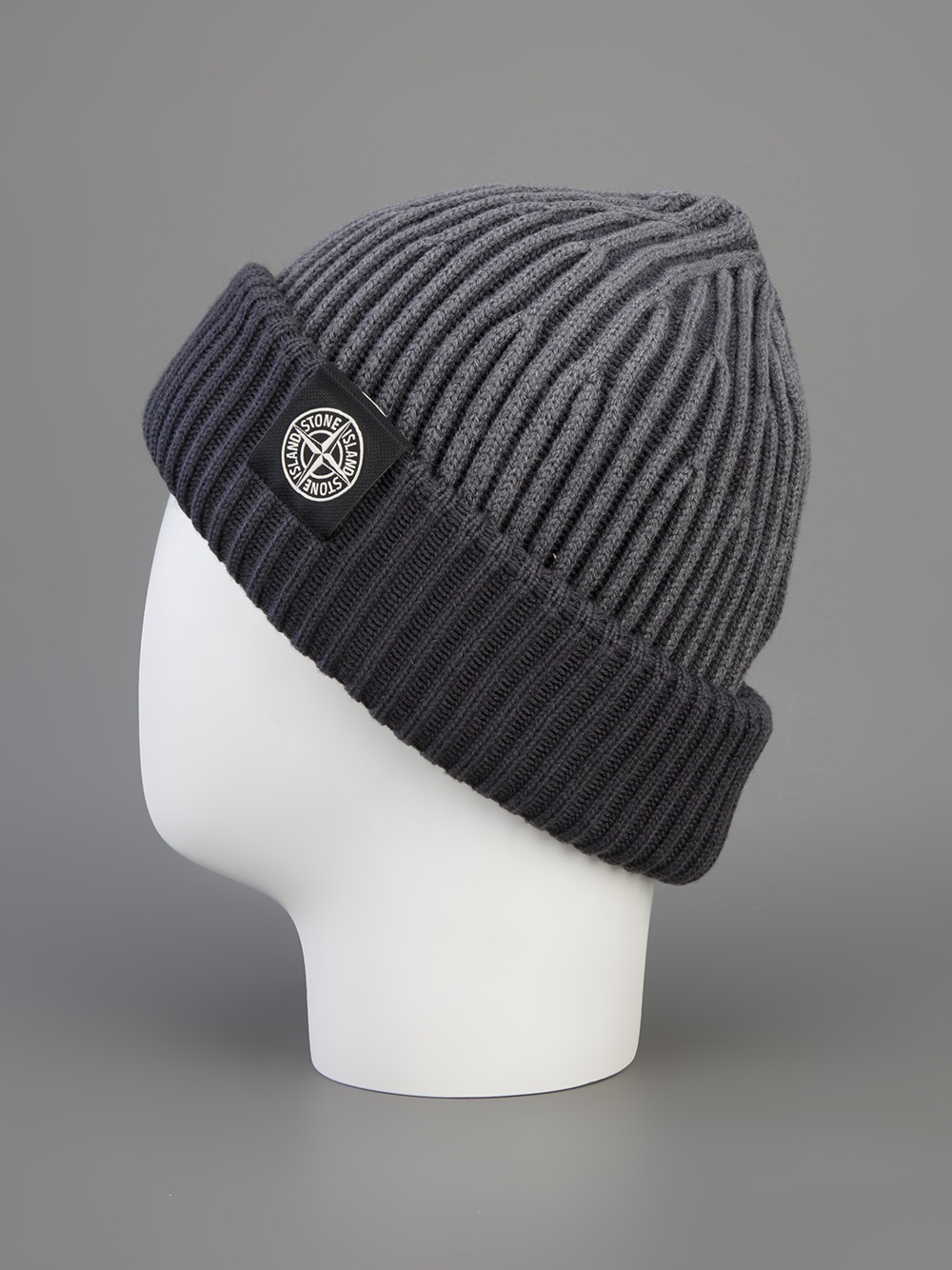 Stone Island Ribbed Beanie In Gray For Men Lyst