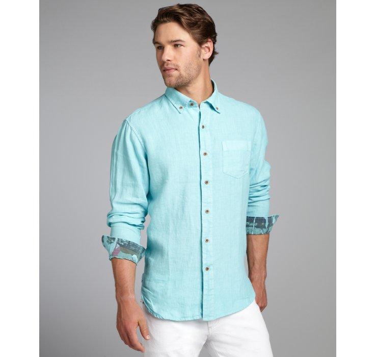 Tailor vintage Aqua Linen Garment Dye Wash Long Sleeve Button Down ...