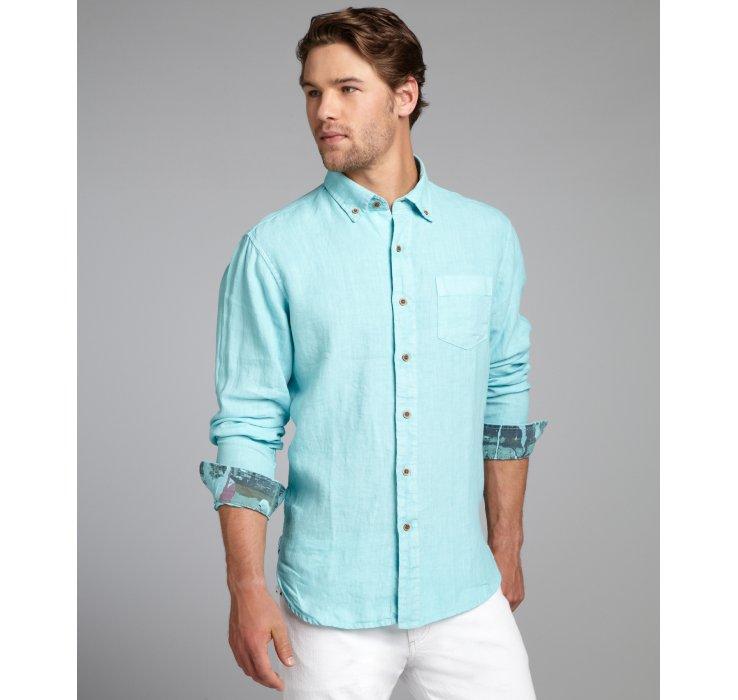 Aqua Button Down Shirt | Artee Shirt