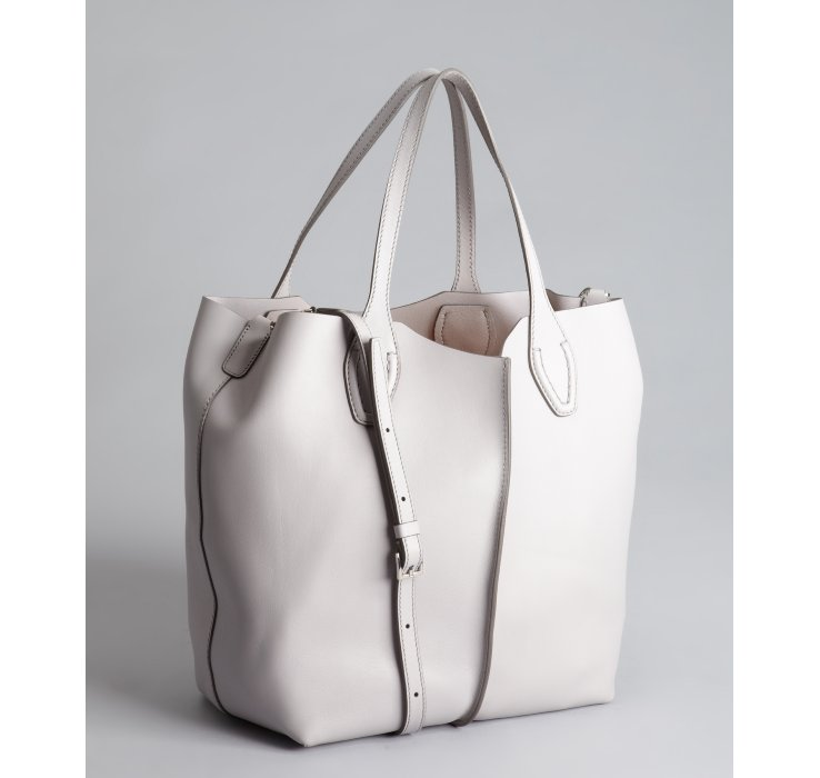 Tod's Grey Leather Convertible Large Tote Bag in White | Lyst