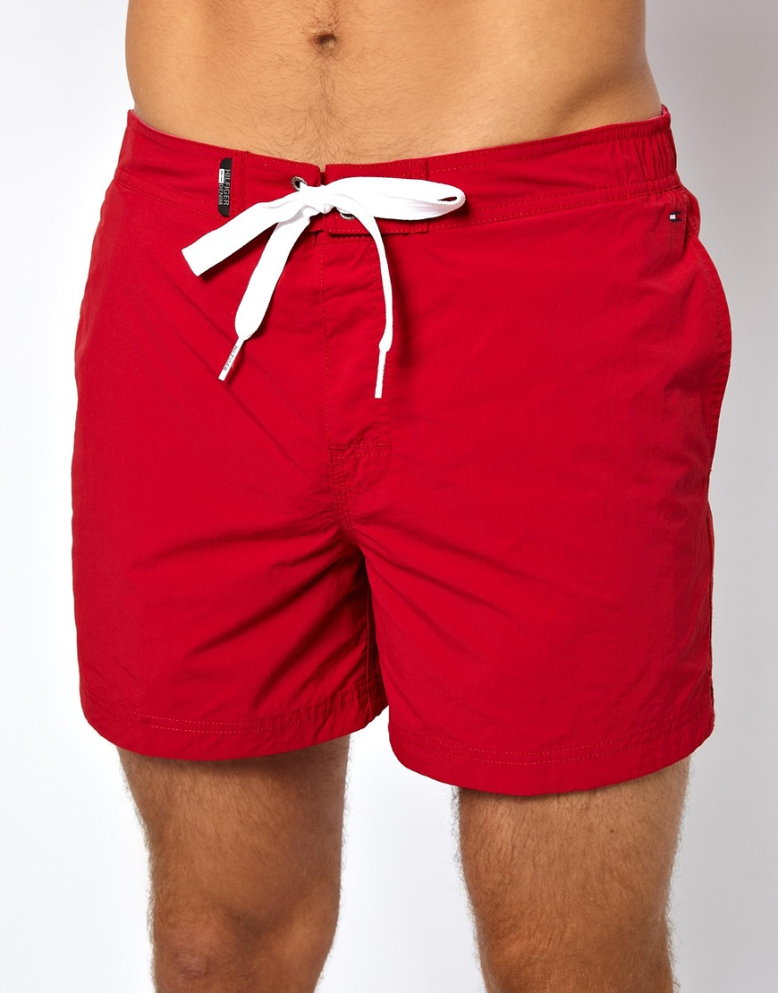 bbde6ff20f4f68 Lyst - Tommy Hilfiger Denim Flag Swim Shorts in Red for Men