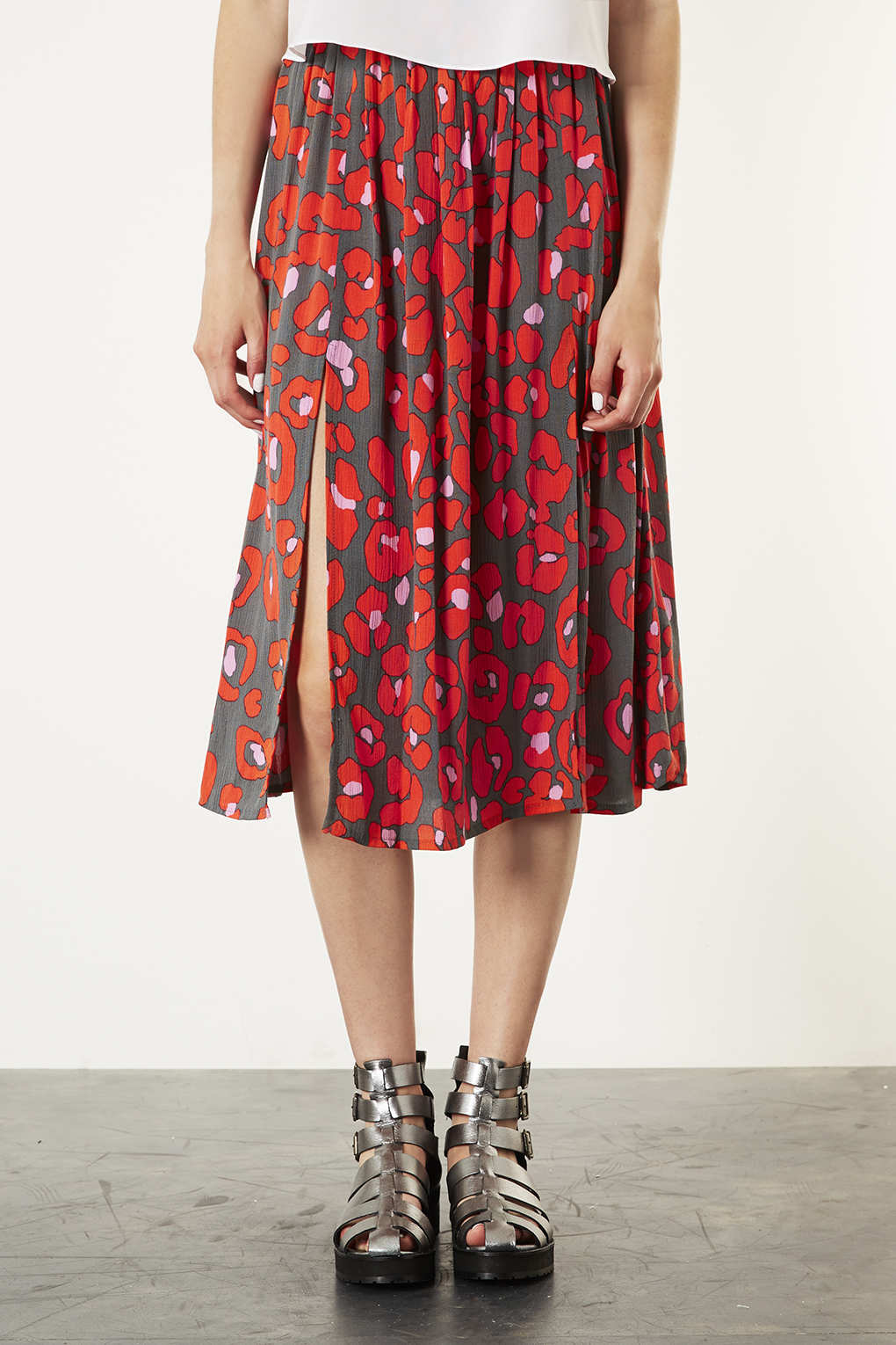 Topshop Red Animal Print Midi Skirt In Red Lyst