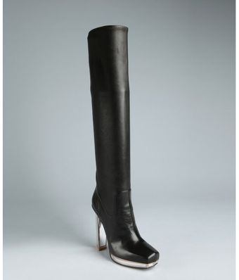 Yves Saint Laurent  Leather and Mirrored Heel Platform Tall Boots - Lyst