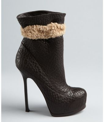 Yves Saint Laurent Chocolate Washed Leather Shearling Trimmed Boots - Lyst
