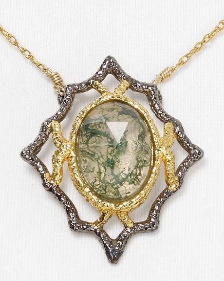 Alexis bittar jardin de papillon lace moss agate doublet for Jardin necklace