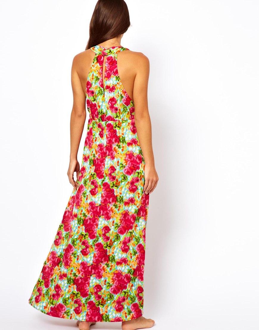 Asos Rose Print Maxi Beach Dress In Pink Lyst