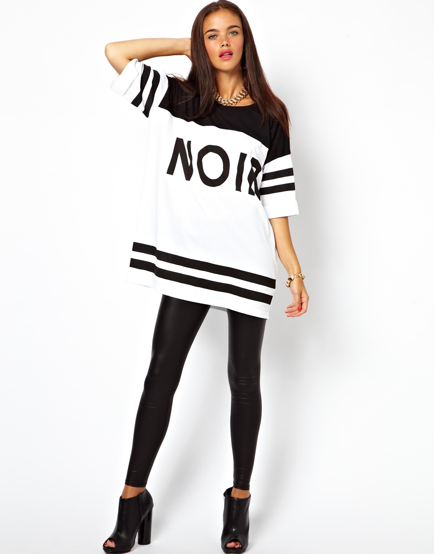 Lyst Asos Oversized Tshirt With Noir Print In White