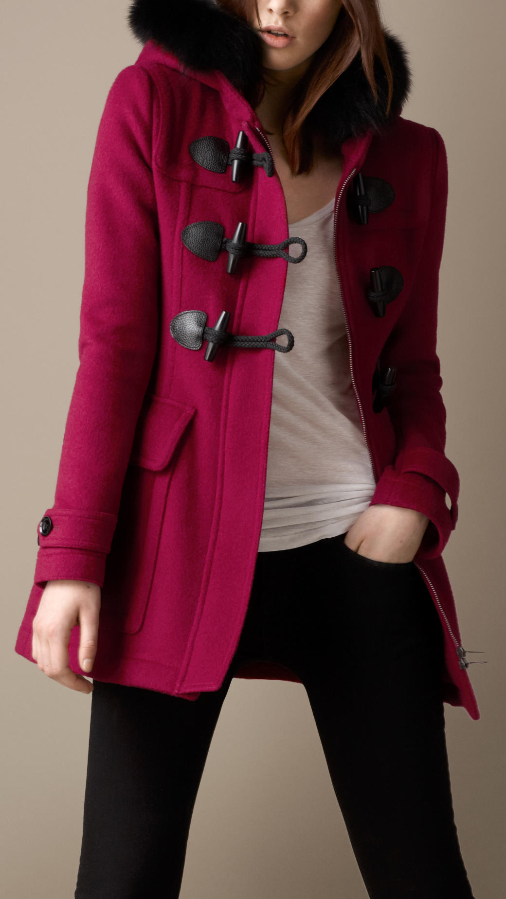 Burberry Fur Trim Fitted Duffle Coat in Pink | Lyst