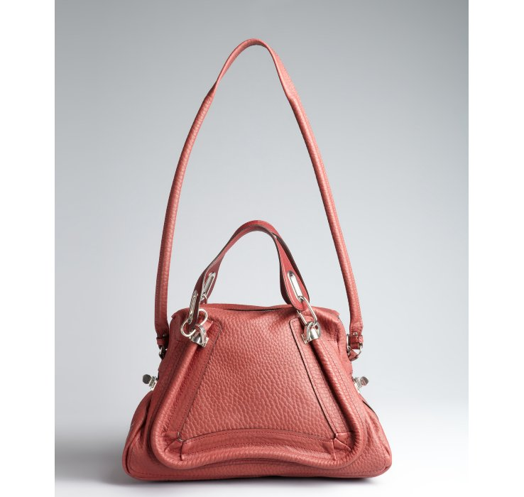 Chlo¨¦ Brick Red Leather Paraty Medium Convertible Top Handle Bag ...