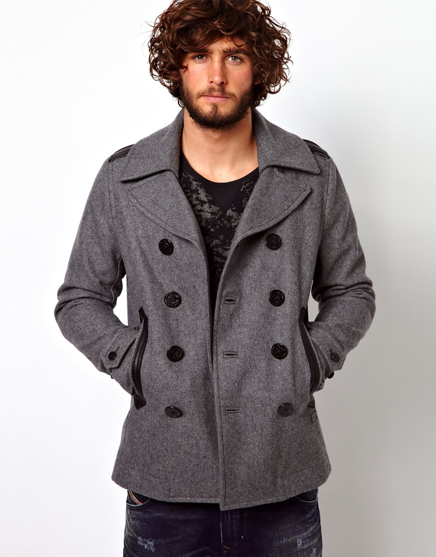 Diesel Pea Coat Wide Double Breasted Melton in Gray for Men | Lyst
