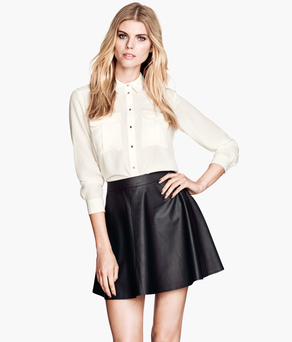 h m imitation leather skirt in black lyst