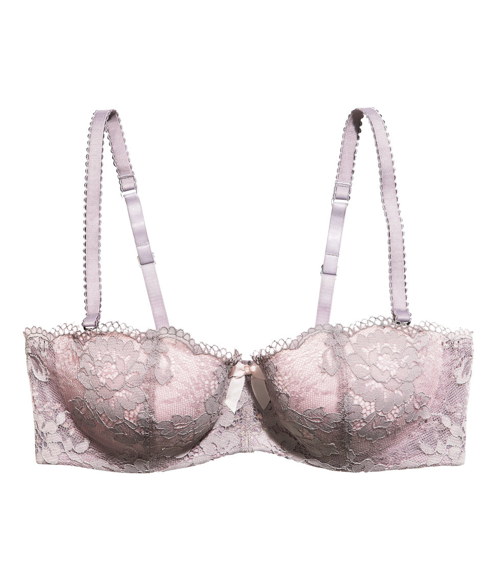 e8bd6fa320098 Lyst - H M Lace Bralette in Pink