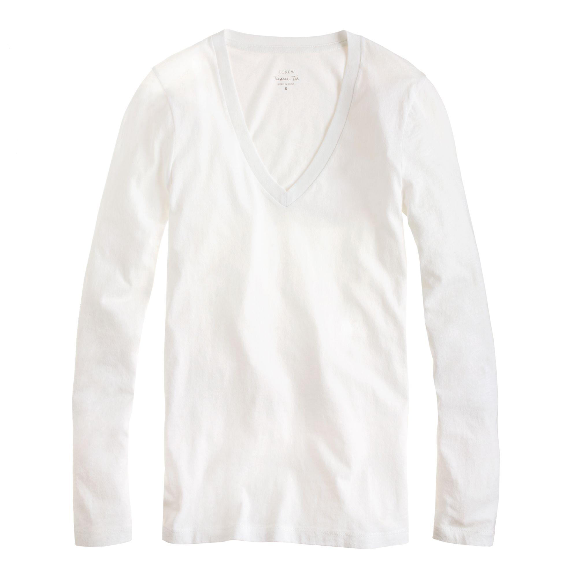 Tissue long sleeve v neck t shirt in white lyst for Long white v neck t shirt