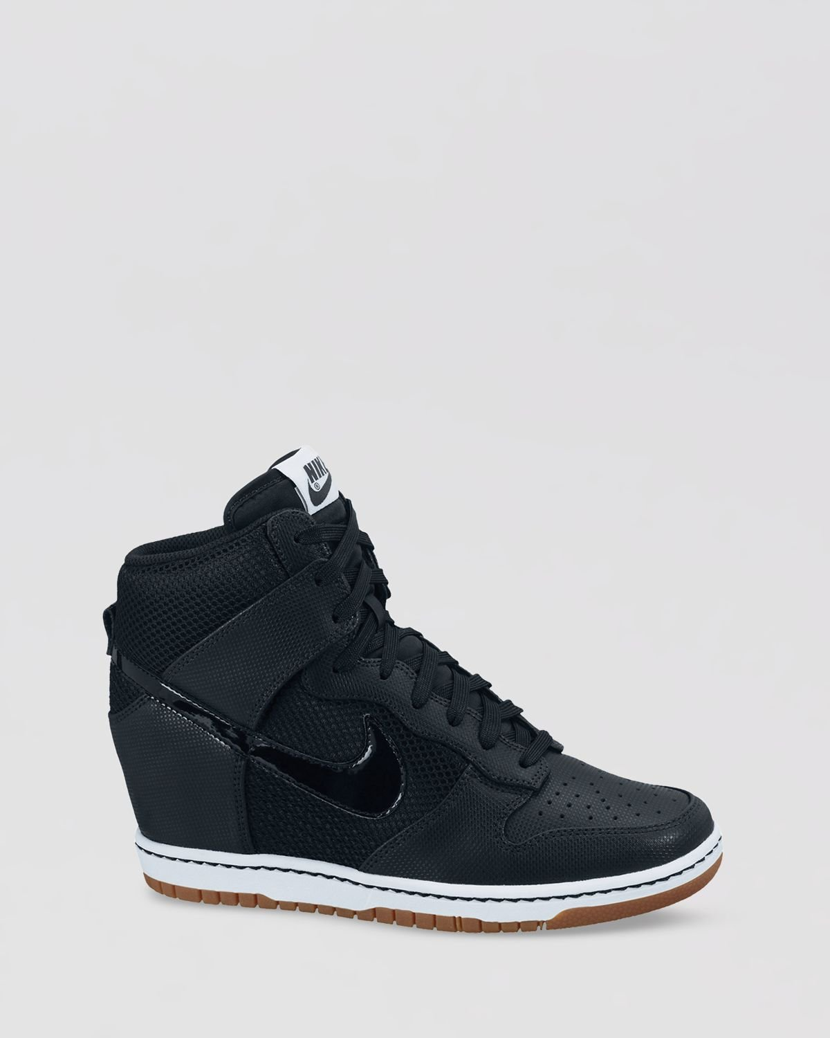 nike high top lace up sneakers womens dunk sky hi in black lyst. Black Bedroom Furniture Sets. Home Design Ideas