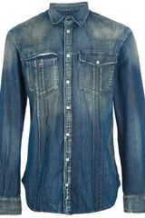 Pierre Balmain Distressed Denim Shirt - Lyst