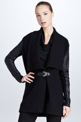 Ralph Lauren Black Label Leather sleeve Draped Cardigan  - Lyst