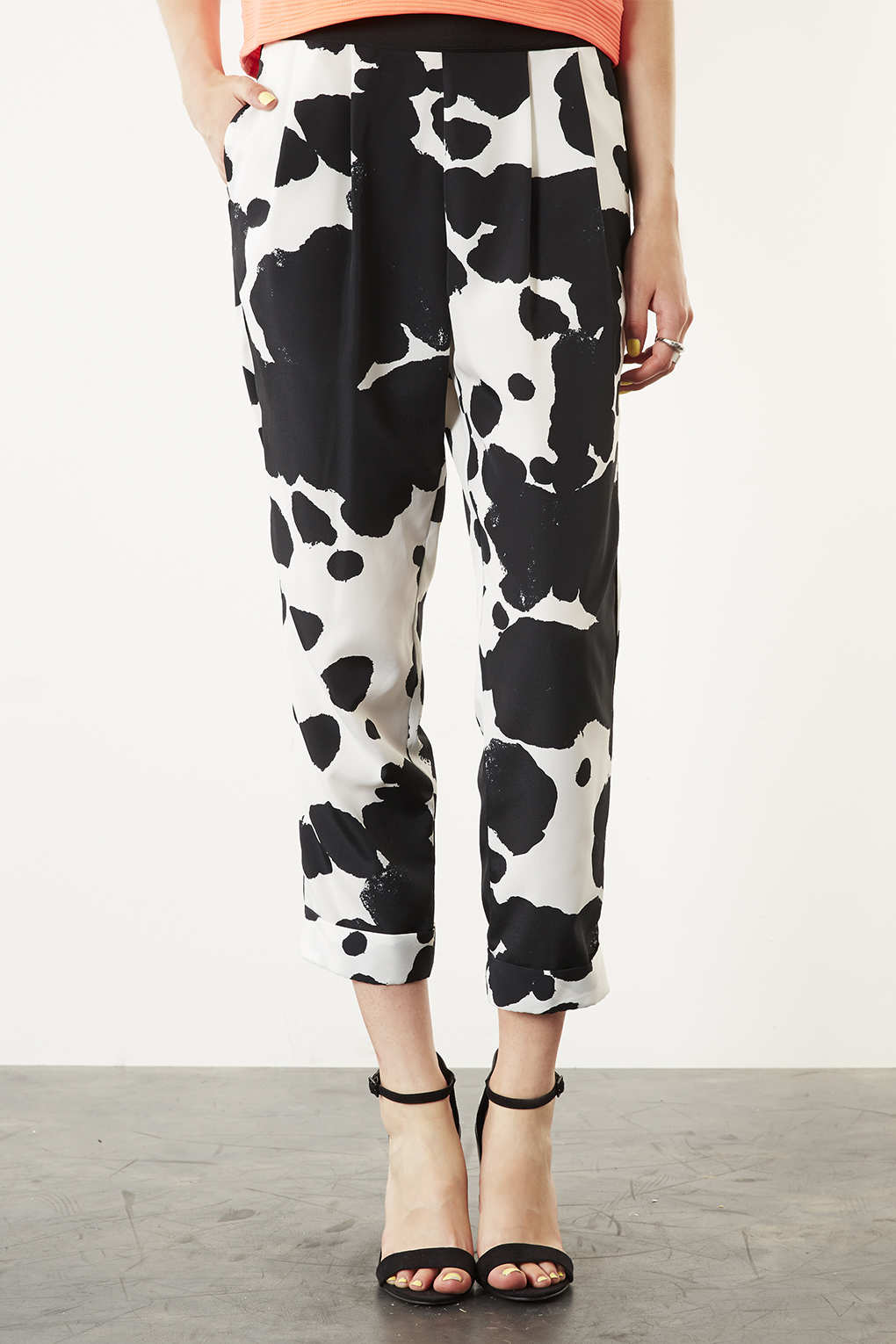 TOPSHOP Cow Print Pyjama Look Trousers in White - Lyst