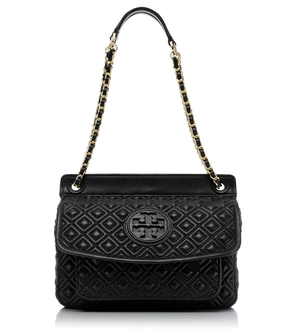 Tory burch Marion Small Shoulder Bag in Black | Lyst