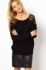Asos Lace Shoulder Jumper - Lyst