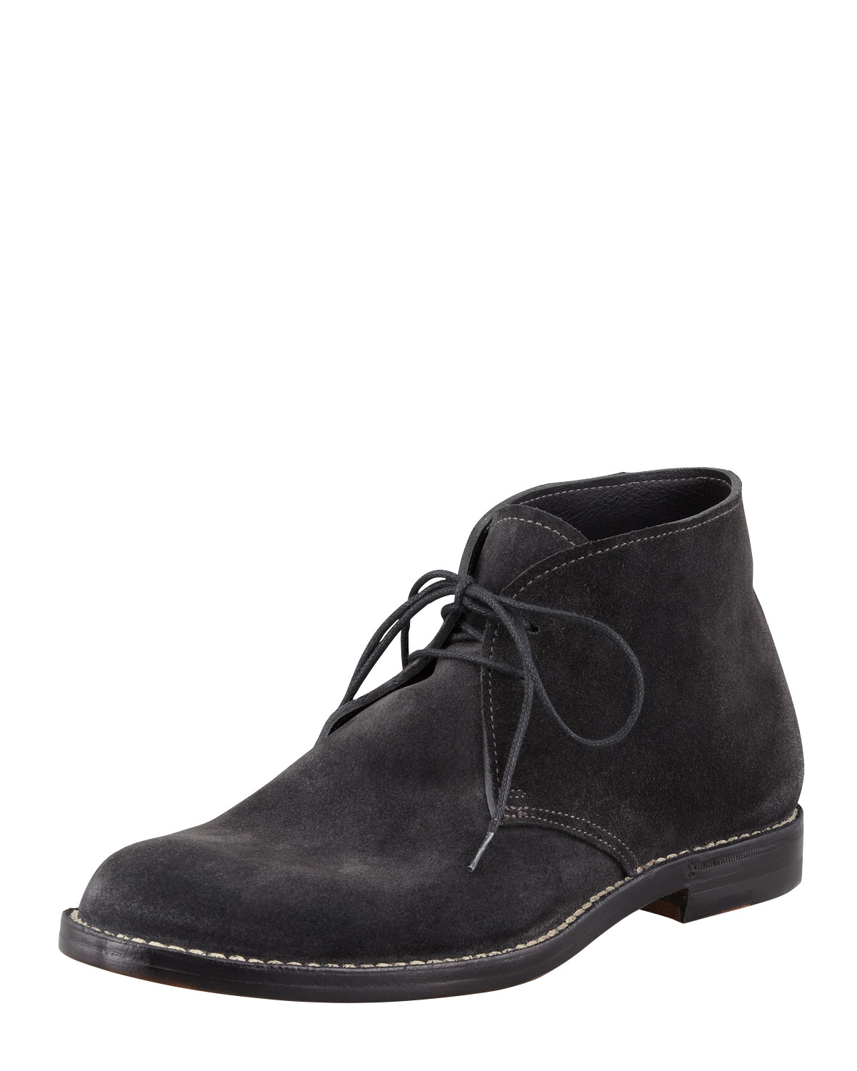 Lyst Bottega Veneta Suede Lace Up Ankle Boot In Gray