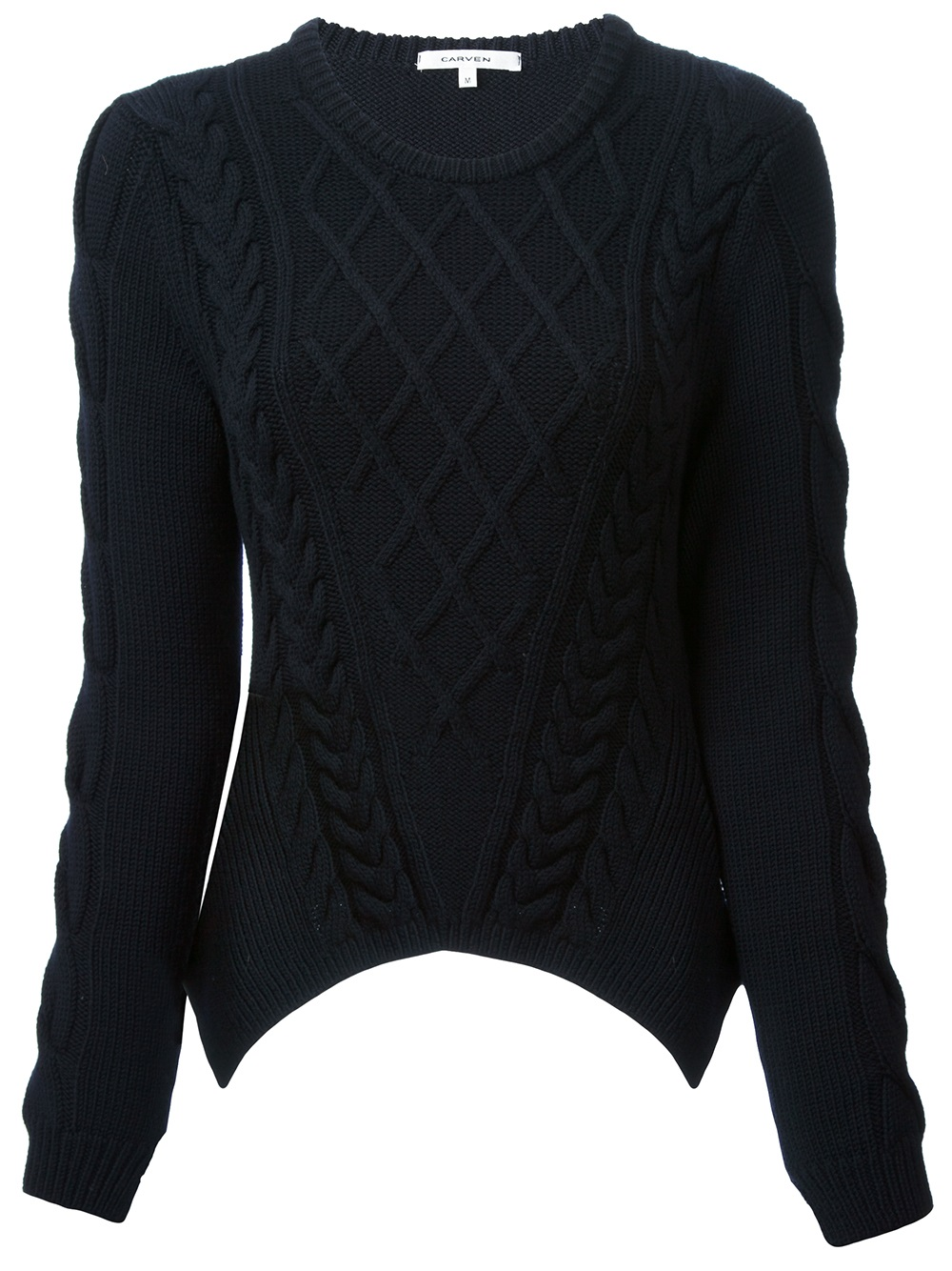 Carven Cable Knit Sweater in Black | Lyst