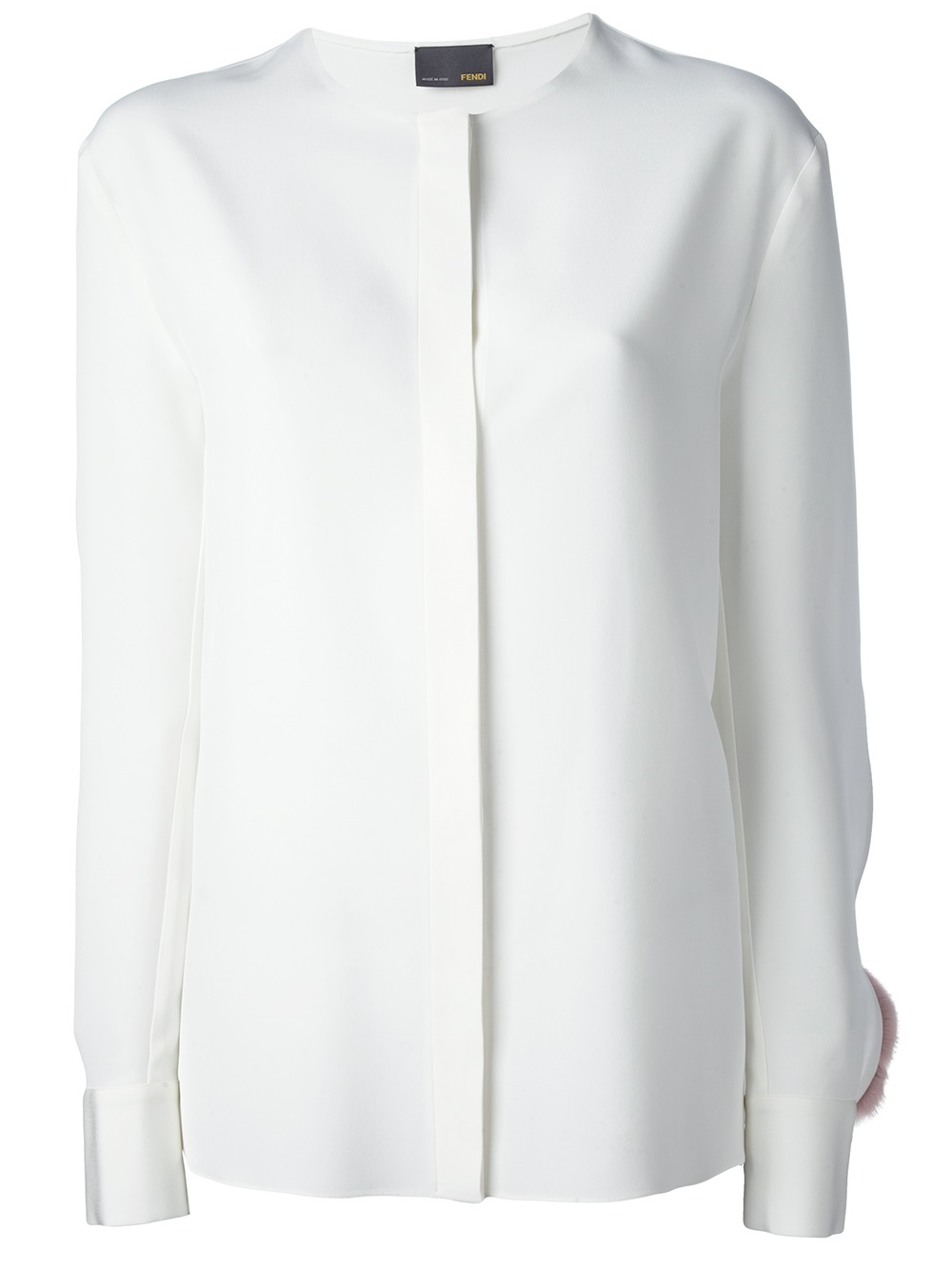Fendi Fur Trim Blouse in White | Lyst