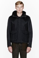 Juun.j Charcoal Grey Neoprene_paneled Jacket - Lyst