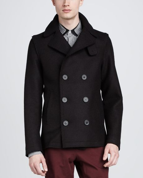 Lanvin fleece pea coat dark gray in gray for men dark gray