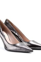 Miu Miu Cracked leather Metallic Pumps - Lyst