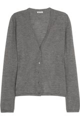Miu Miu Cashmere and Silk-blend Cardigan - Lyst