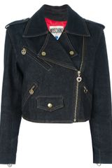 Moschino Vintage Denim Biker Jacket - Lyst