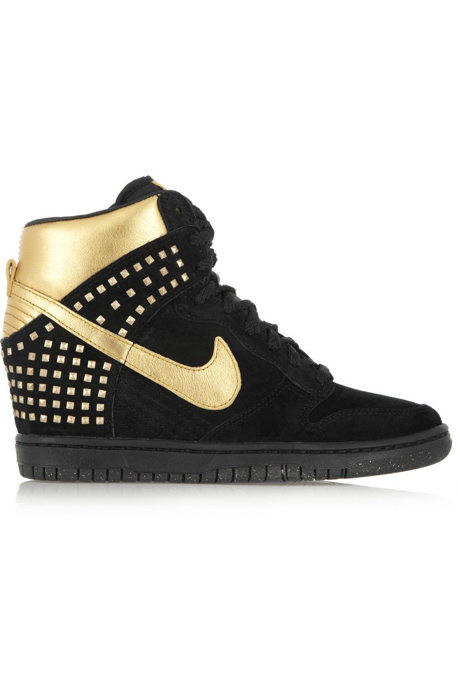 nike dunk sky hi suede and metallic leather wedge sneakers. Black Bedroom Furniture Sets. Home Design Ideas