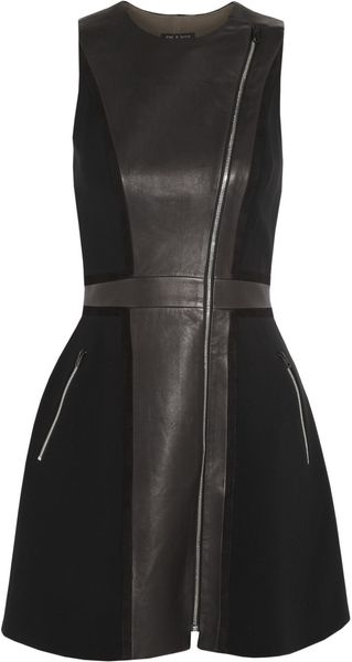 Rag & Bone Rae Washedleather and Crepe Dress - Lyst