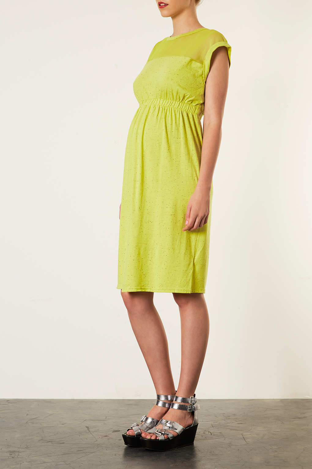 Topshop maternity mesh yoke elastic waist dress in yellow lyst gallery ombrellifo Image collections
