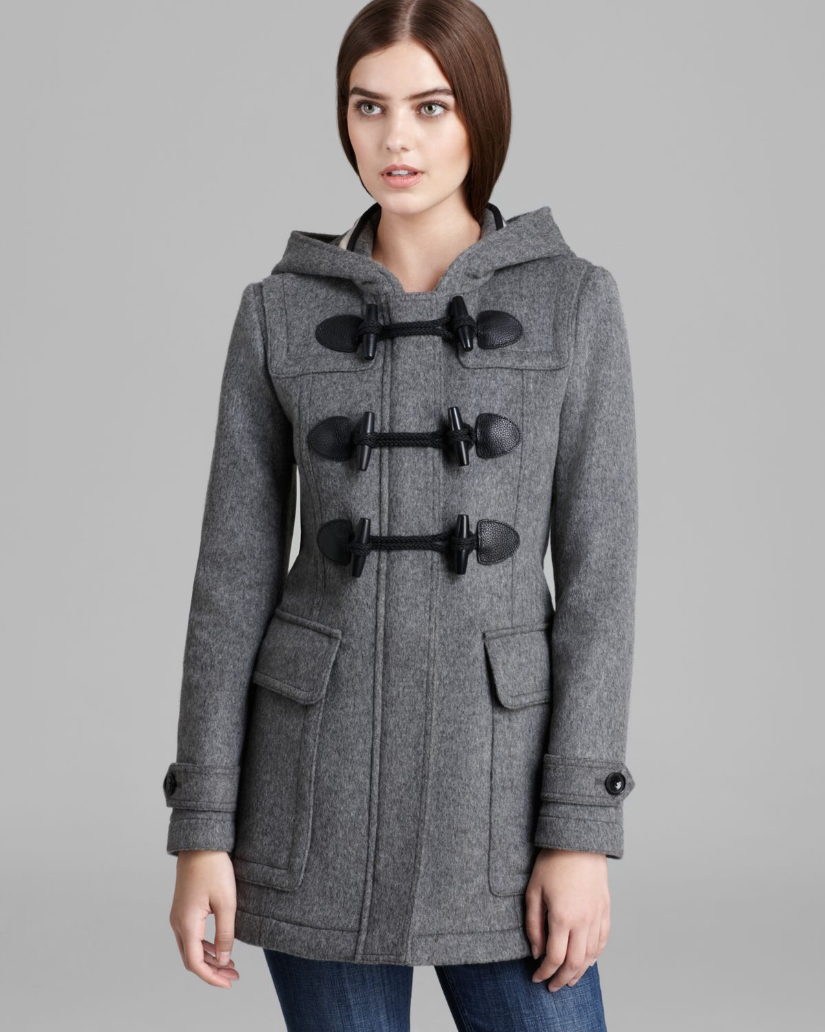 Burberry brit Blackwell Wool Toggle Coat in Gray | Lyst