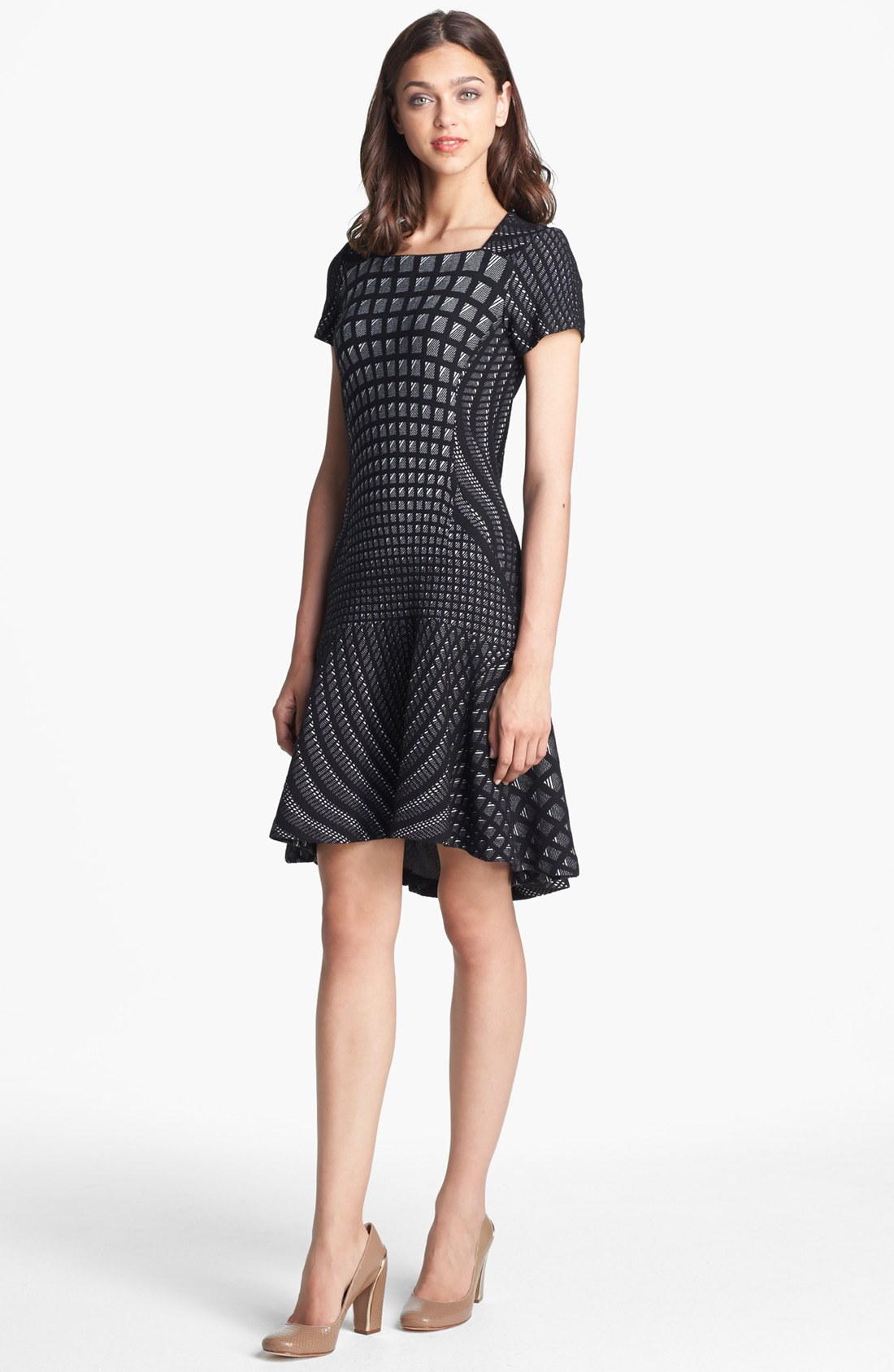 Diane von furstenberg hansine knit a line dress in black for Diane von furstenberg clothes