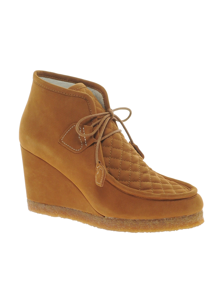 f troupe wedge boot in brown lyst