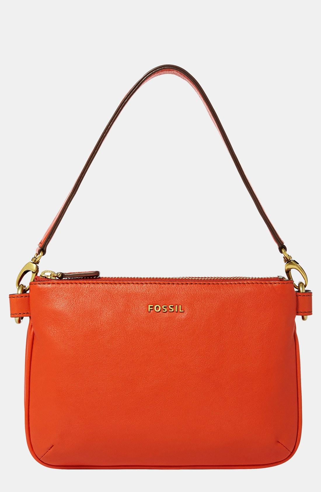 fossil memoir convertible shoulder bag in orange bright