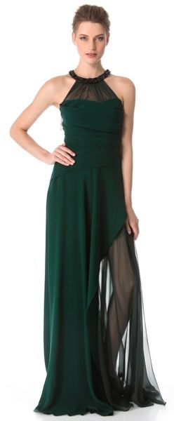 J. Mendel Draped Gown with Crystal Halter - Lyst